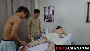 Asians massage daddy bear before analsex trio